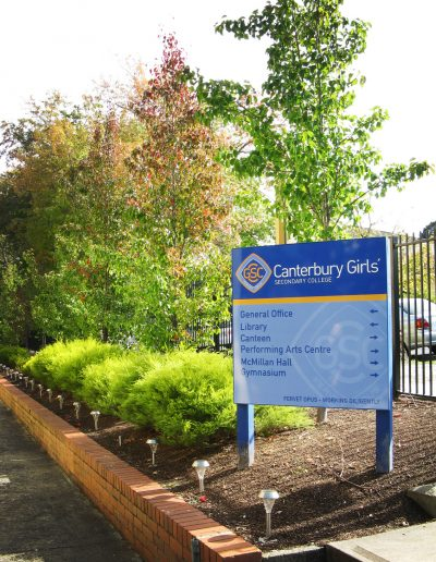 Wayfinding signs for Canterbury Girls Secondary School