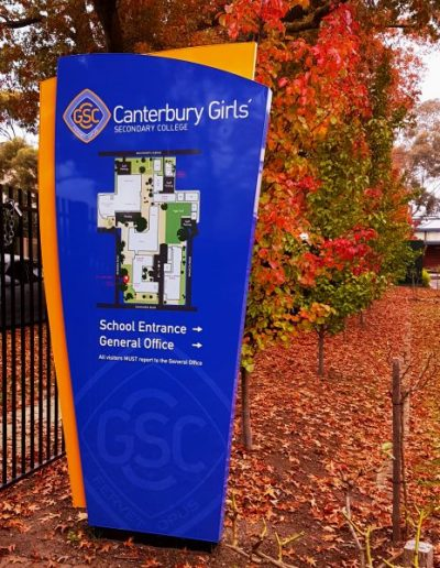 School Map signs for Canterbury Girls Secondary School