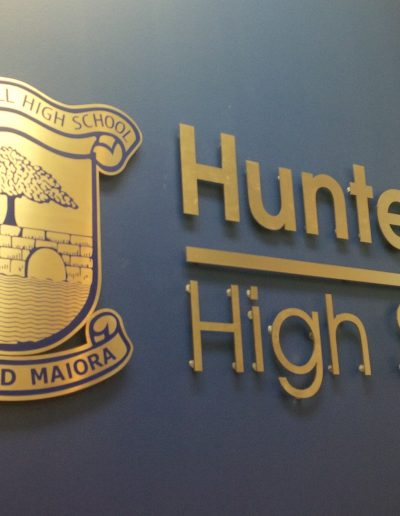 Building signs for Hunters Hill High School