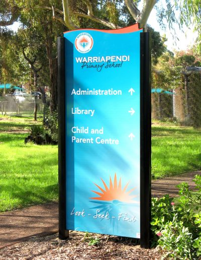 Wayfinding signs for Warriapendi Primary school