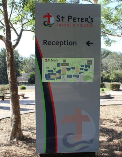 Wayfinding signs for St Peter's Catholic College